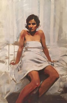 Sheet Dress | From a unique collection of portrait paintings at https://www.1stdibs.com/art/paintings/portrait-paintings/