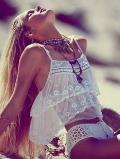 Boho beachwear- not your average everyday bikini- Femme Fatale crop top & crocheted bottoms sold separately- Free People- May Catalog. Boho Fashion Summer, Look Fashion, Bohemian Fashion, Beach Fashion, Vogue Fashion, Modern Hippie Fashion, Modern Hippie Style, Wild Fashion, Blonde Fashion