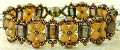 """Linda's Crafty Inspirations: Bracelet of the Day: Pinnacle Bands--PINNACLE BANDS 11/0 seed beads Miyuki """"Light Bronze"""" (11-457L) 4mm druks """"Gold & Smoky Topaz Luster"""" CzechMates """"Transparent Topaz Gold Luster"""" 4mm fire polished beads """"Milky Topaz"""""""