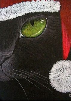 """Holiday Cat"" par Cyra R. Chalk Pastel Art, Chalk Pastels, Vintage Christmas Images, Sad Eyes, Christmas Crackers, New Glasses, Eye Art, Cat Drawing, Art Portfolio"
