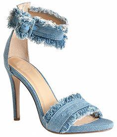 Pom Pom Ankle Strap High Heel Sandals