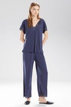 e26cbc771cfcb Natori Zen Floral Lace Trim Modal Jersey Pj Set Pjs Pajamas Hot Night Blue  XS | eBay