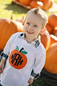 Child's Harvest Time Thanksgiving or Halloween Long Sleeve Tshirt or Onesie with Pumpkin and Circle Monogram Initials -- 3 color on Etsy, $28.50