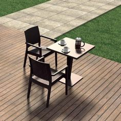 Ibiza Wickerlook Outdoor Resin Bistro Set Brown with Square Table 28 inch #BistroSets #OutdoorFurniture #CozyDays