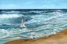 Loving the Wind.  Beautiful giclee print of Royal terns at Canaveral National Seashore.