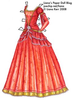 The Twelve Dancing Princesses (A Christmas Tale), Day 1: Perdita's Red Gown with Rose Embroidery and Gold Trim | Liana's Paper Dolls