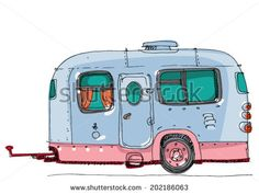 caravan - cartoon - stock vector