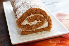 SKINNY Pumpkin Roll, Lightened Up - Pumpkin sponge cake rolled with a lightened up cream cheese frosting. What can be prettier on your Thanksgiving table! Ww Desserts, Delicious Desserts, Dessert Recipes, Yummy Food, Holiday Desserts, Healthier Desserts, Sweet Desserts, Holiday Treats, Tasty