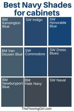 Best shades of navy for kitchen cabinets.  #navy #paint #color  #kitchen #cabinets #kitchendesign