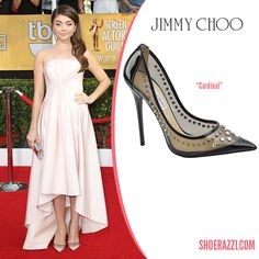 Sarah Hyland in Jimmy Choo Cruise 2014 Studded PVC & Patent Leather Cardinal Pumps - ShoeRazzi