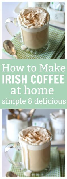 great coffee Do you know how to make Irish Coffee at Home? It's easier than you might think and only requires a few ingredients that you quite possibly could have on hand! This delicious Coffee Drink Recipes, Coffee Drinks, Iced Coffee, Coffee Tables, Cinnamon Coffee, Coffee Tasting, Irish Recipes, Kahlua Recipes, Greek Recipes