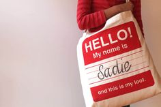 HELLO Christmas Tote by AuntyCookie