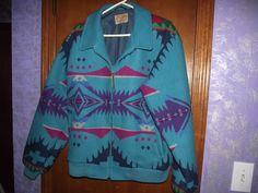 SMALL Vintage PENDLETON Wool High Grade Jacket Indian Blanket Western TEAL Coat
