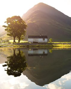 Lake District. The boathouse of Buttermere with Fleetwith Pike in the background