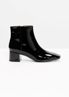 & Other Stories image 1 of Patent Leather Ankle Boots in Black