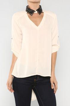 Collar Sheer Blouse #white #clothing #fashion #black #white #love #ootd #wiwt #shorts #skirts #dresses #tanks #tops #pants #jackets #outerwear #trousers #leggings