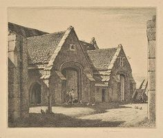 AR Badmin (Stanley Roy, 1906-1989). The Abbey Barn, Doulting, Somerset, 1929,  etching on wove paper, from the edition of 30, published by the XXI Gallery, signed in pencil, additionally titled and numbered 26/30 to lower margin, light mount stain, plate size 113 x 137mm (4.5 x 5.4ins), sheet size 197 x 240mm (7.75 x 9.5ins) Beetles 19. (1) Sheet Sizes, Beetles, Somerset, Farmhouse Style, Buildings, Barn, Pencil, Plate, Landscape