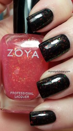 Zoya Raven (a black cream with a tiny almost hidden shimmer in it) with Zoya Chloe over it