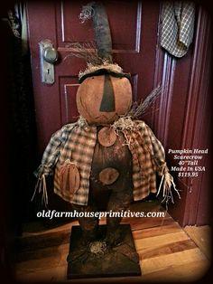 Primitive Pumpkin Head Scarecrow ( Made In USA )