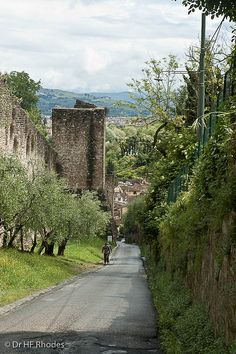 The walls of Florence from the exceedingly steep Via di Belvedere, Florence, Italy
