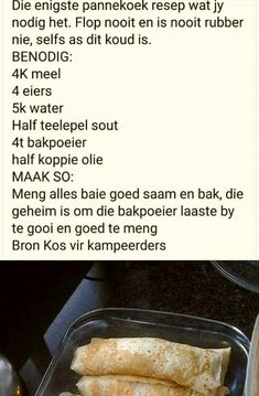 Pannekoek wat nooit flop nie! Baking Recipes, Snack Recipes, Dessert Recipes, Oven Recipes, Old Fashioned Bread Pudding, African Dessert, Homemade Donuts, South African Recipes, Easy Desserts