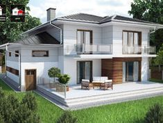 DOM.PL™ - Projekt domu DTD PANAY CE - DOM DT1-14 - gotowy koszt budowy House Construction Plan, Cost Of Goods, Hip Roof, Villa, Small Windows, Minimalist Home, Modern House Design, Home And Living, Planer
