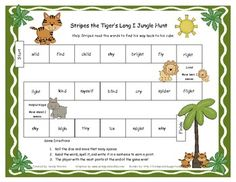 Your students will have a great time helping Stripes the Tiger read the words to find the way to his cubs.  Students roll the dice and read the word to his or her partner. He or she then writes the word in a sentence to earn a point. Whoever earns the most points by the end of the game wins!  *This game correlates with the Long I, IE, IGH, and Y spelling and phonics patterns for the Reading Street story Rosa and Blanca from Unit 3.