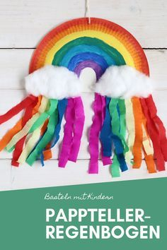 DIY: Pappteller-Regenbogen basteln DIY – Paper plates Making rainbow: Paper plates and crepe paper can be used to craft creative works of art with children. The paper plate upcycling is a great kindergarten craft idea. Rainbow Paper, Rainbow Crafts, Kids Rainbow, Diy Home Crafts, Crafts For Kids, Arts And Crafts, Summer Crafts, Creative Crafts, Diy Paper