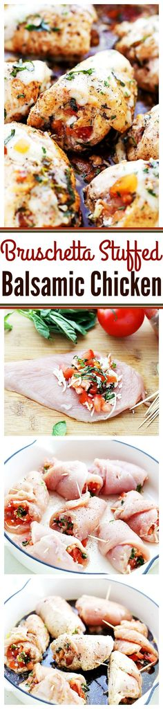 Bruschetta Stuffed Balsamic Chicken - This is the juiciest chicken you will ever have! Baked in a delicious balsamic mixture and stuffed with fresh tomatoes, basil, and mozzarella, this chicken recipe is just finger-licking GOOD!