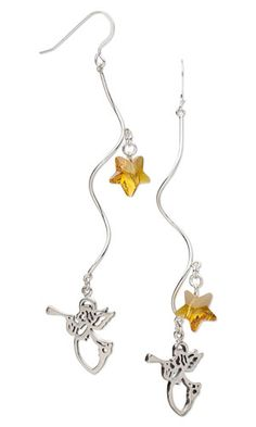Earrings with SWAROVSKI ELEMENTS, Sterling Silver Drops and Sterling Silver-Filled Focals