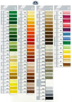 DMC Coton a Broder Thread Color Card- download color card from Lacis.