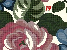 Geri Dönüşüm Projeleri Cross Stitch Rose, Cross Stitch Flowers, Cross Stitch Embroidery, Cross Stitch Patterns, Hobbies And Crafts, Diy And Crafts, Pink And Blue Flowers, Corner Designs, Projects To Try