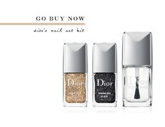Sparkling Nail Powders Set ($48)  1. Work with one nail at a time, adding glitter to a thick, just-applied coat of clear polish.  2. For a light application, hold the glitter above your nail and tap the cap gently; for more drama tap the glitter directly onto the wet polish.  3. Most importantly, don't forget the topcoat! A heavy coat will keep your glitter in place, and two coats will give the heaviest glitter a smooth finish.