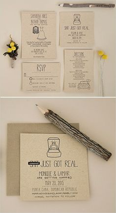 DIY original wedding invitation for less than 20 euros! Original Wedding Invitations, Funny Wedding Invitations, Wedding Invitation Design, Wedding Stationary, Invitations Online, Wedding Paper, Wedding Cards, Diy Wedding, Dream Wedding