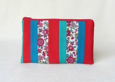 Patchwork pouch zipper pouch make up bag gift for her by JRsbags