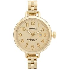 Women's Shinola 'The Birdy' Bracelet Watch, 34Mm ($525) ❤ liked on Polyvore featuring jewelry, watches, gold, american jewelry, american watches, watch bracelet, bracelet watch and quartz movement watches