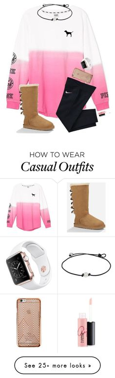 Casual day/// read d! by hopemarlee on Polyvore featuring Victorias Secret, NIKE, UGG Australia, MAC Cosmetics, womens clothing, women, female, woman, misses and juniors #cosmetics