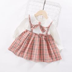 Baby / Toddler Preppy Style Faux-two Plaid Doll Collar Suspender Long-sleeve Dress Kids Dress Wear, Dresses Kids Girl, Kids Outfits Girls, Little Girl Outfits, Toddler Outfits, Baby Girl Dress Design, Baby Girl Dress Patterns, Baby Clothes Patterns, Sewing Baby Clothes
