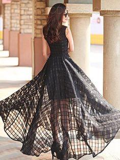 Ericdress Prom Floor-Length Soild Color Sleeveness Maxi Dress Maxi Dresses