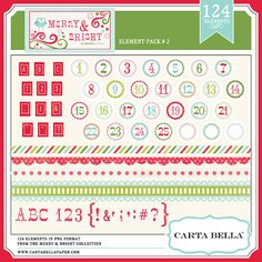 This collection includes:Circle Stickers 1-25 + 3 blank circles,  Red Square Alpha, Red Square Numbers 0-9, Red Square Punctuation, Merry & Bright Alpha,  Merry & Bright Numbers 0-9,Merry & Bright Punctuation      4 Festive Borders    (All PNG files)