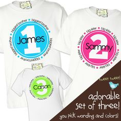 zoey's attic personalized gifts - Brother or sister matching simple circle set of three sibling Tshirts, $48.00 (http://www.zoeyspersonalizedgifts.com/products/brother-or-sister-matching-simple-circle-set-of-three-sibling-tshirts.html)