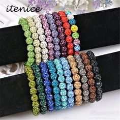Fashion Jewelry Handmade Crystal Shamballa Bangles Strand Shambala Charm Stone Chain Beaded Bracelets For Women
