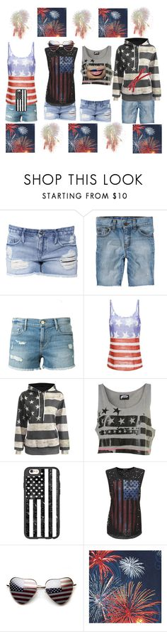 """HAPPY FOURTH OF JULY!!!!!"" by galaxygal123 ❤ liked on Polyvore featuring Black Orchid, Frame, Illustrated People, Casetify and Doublju"