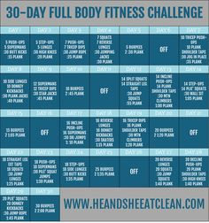 Ready for a new challenge? This is the perfect challenge for you to do as soon as you wake up, before or after your normal workout, or before bed! 30-Day Full Body Fitness Challenge | He and She Eat Clean