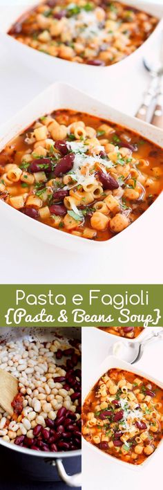 Pasta e Fagioli – A classic Italian pasta and bean soup with plenty of flavor and heart healthy fiber and protein! 240 calories and 7 Weight Watchers SmartPoints (italian pasta recipes foodies) Crock Pot Recipes, Cooking Recipes, Bean Soup Recipes, Crock Pots, Ham Recipes, Roast Recipes, Crockpot Meals, Chili Recipes, Muffin Recipes