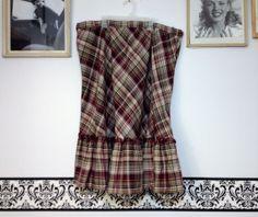 1960's Rockabilly Plaid Wool Skirt Plus Size 2X by RetrosaurusRex, $29.99