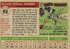 1955 Topps #92 Don Zimmer Back