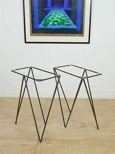 Pair of Industrial Steel Dining Trestle Table Legs /Mid Century Modernist Style