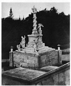 """1806-1860 - Tripoli Monument or Peace Monument, Navy Yard, Washington, DC (USA). Made in Italy by Charles Micali. Damaged by fire during the War of 1812. Moved to West Grounds of the US Capitol in 1831. Moved to US Naval Academy (USNA), Annapolis, Maryland (USA) in 1861 (qv). Plaque: """"The oldest military monument in the United States honors heroes of the War against the Barbary Coast Pirates [1801-1805], the new republic's first war..."""" Renovated in June 2000."""