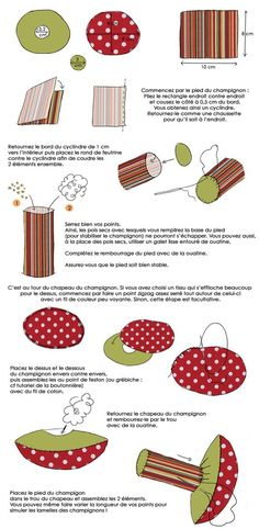 In drawing: make fabric mushrooms for your child& room. Felt Crafts, Fabric Crafts, Sewing Crafts, Sewing Projects, Sewing Ideas, Mushroom Crafts, Mushroom Art, Creation Couture, Couture Sewing